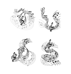 Musical compositions with music waves vector image vector image