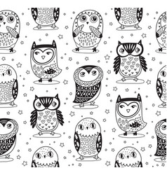 seamless pattern with cartoon owls in vector image vector image