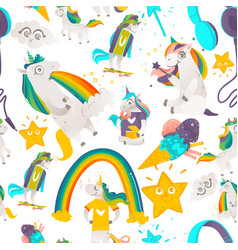 Seamless pattern with unicorns stars and rainbows vector