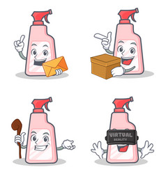 Set of cleaner character with envelope box witch vector