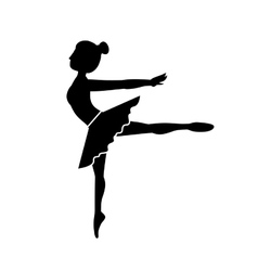 silhouette dancer pose fourth arabesque vector image vector image