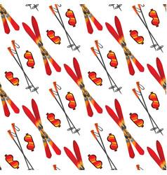 skiing seamless pattern vector image