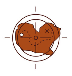Treasure map with target icon vector