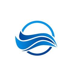 Water wave abstract ocean logo vector