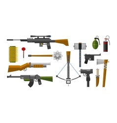 Weapons collection icons vector image vector image
