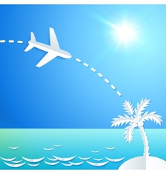 White paper plane flying to the island with palm vector