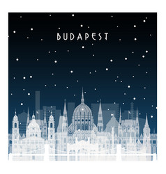 Winter night in budapest night city in flat style vector