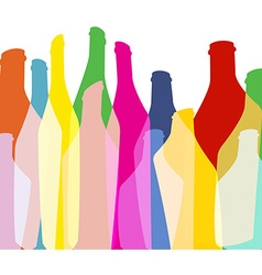 Bottles background green color vector