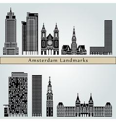 Amsterdam V2 landmarks and monuments vector image
