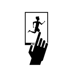 Isolated runner man and smartphone design vector image