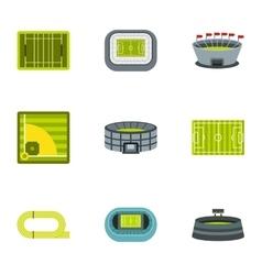 Stadium icons set flat style vector image