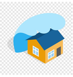 Big wave of tsunami over the house isometric icon vector