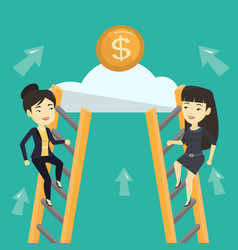 Two business women competing for the money vector