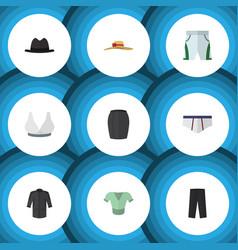 Flat icon garment set of stylish apparel panama vector