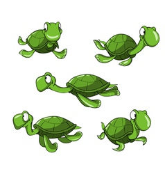 Cartoon green turtle in different poses vector