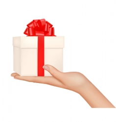 Hand with gift bow vector