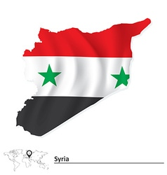 Map of syria with flag vector