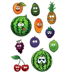 Fresh happy cartoon fruits characters vector