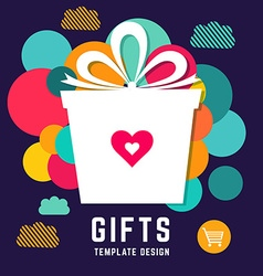 Template with holiday gift vector