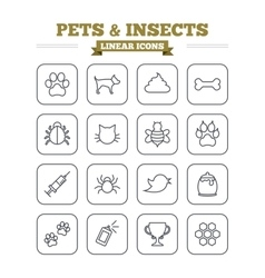 Pets and insects linear icons set thin outline vector