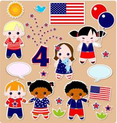 Children set fourth of july vector