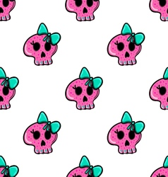 Doodle seamless pattern with skull - 4 vector