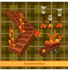 Elements of the autumn scenery decor vector image