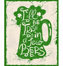 Retro st patricks day typography poster with beer vector