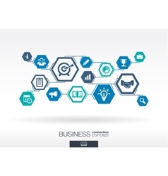 Business network hexagon abstract background vector