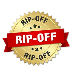 Rip-off 3d gold badge with red ribbon vector