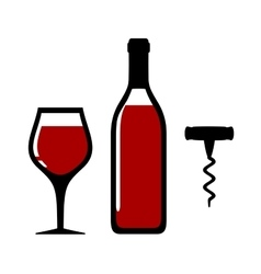 Wine bottle glass and corkscrew vector