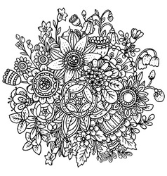 Beautiful monochrome floral pattern vector image vector image