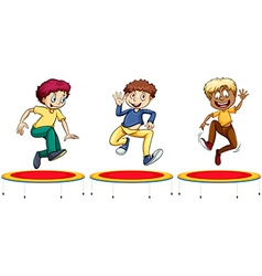 Boys jumping on the trampolines vector image