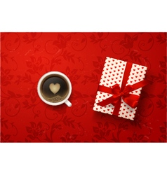 coffee with valentines card gift box vector image vector image