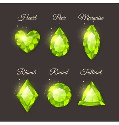Colorful shiny gemstones collection vector