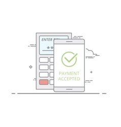 Concept of contactless payment using a mobile vector