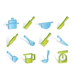 cooking equipment and tools icons vector image