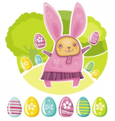 Easter card with funny rabbit vector image vector image