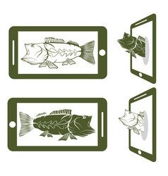 flat design with big mouth bass vector image vector image