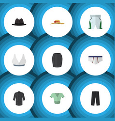 Flat icon garment set of stylish apparel panama vector