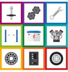 Flat icon service set of auto jack spanner belt vector