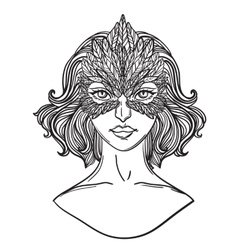 Girl with hawk mask vector