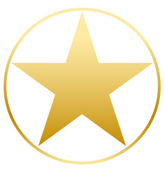 Gold star in a golden circle simple form flat vector