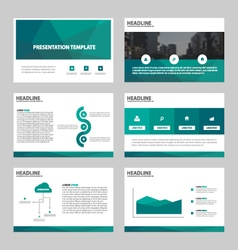 Green polygon abstract presentation templates set vector