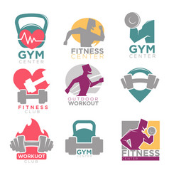Gym and fitness club sport icons set vector