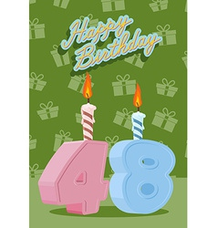 Happy birthday age 48 announcement and celebration vector
