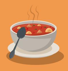 Hot soup pasta vegetables bowl dish spoon vector
