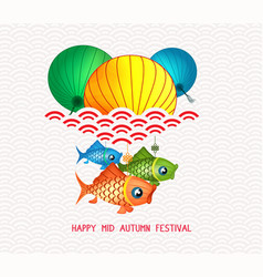 mid autumn festival chinese background with carp vector image