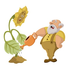 Old man and GMO vector image vector image