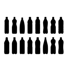Set of silhouettes of water bottles vector